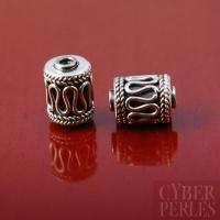 Perle tube cylindre de Bali en argent