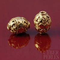 Perle de Bali en vermeil forme cylindre