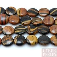 Perle disque en jaspe zébré brun
