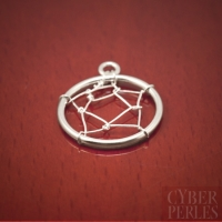 Sterling silver dreamcatcher web charm