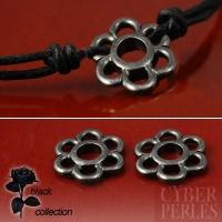 Connecteur fleur en métal noir