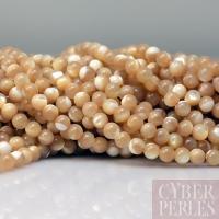 Perles rondes en nacre 4 mm - naturel