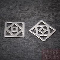 Breloque connecteur carré mandala argent