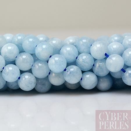 """3 Brins 4 mm Bleu Aigue-marine /& 7-8 mm Riz Blanc Perles Collier Long 50/"""""""