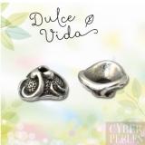 Perle caps en métal argenté