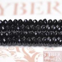 Perles rondelles en onyx noir facetté