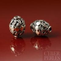 Perle de Bali en argent forme cylindre
