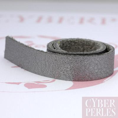 lani re de cuir plat 25 cm gris metallis ctl008 cyberperles. Black Bedroom Furniture Sets. Home Design Ideas