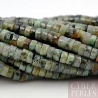 Perles rondelles en turquoise africaine (jaspe)