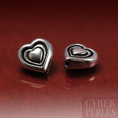 Perle coeur argentee - 8 mm