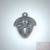 Breloque masque africain argent 925 noir