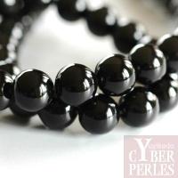 Perle ronde en onyx noir 12 mm