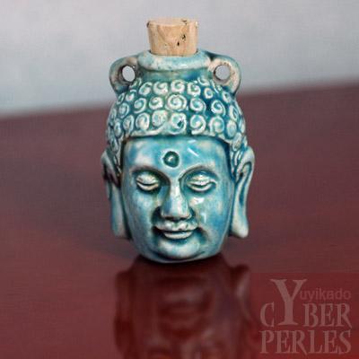 Pendentif-fiole Bouddha ceramique raku