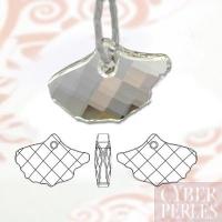 Pendentif feuille de ginkgo - crystal silver shade
