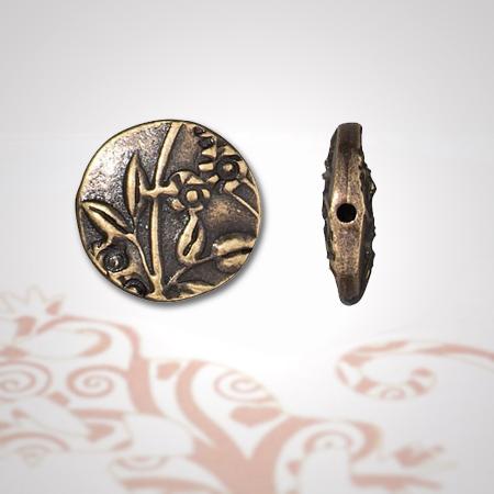 Perle aplatie motif floral bronze antique