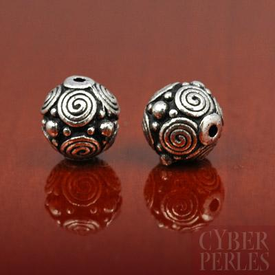 Perle ronde spirales style Bali argentee