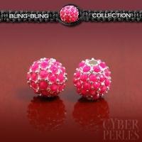 Perle pavée argentée et cristal rose néon