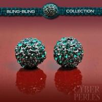 Perle pavée de cristal - gunmetal vert émeraude