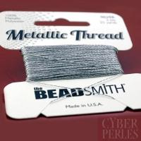 Beadsmith Metallic thread - fil polyester 2 plis argenté