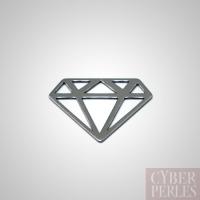 Breloque connecteur diamant argent noir