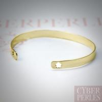Bracelet jonc plaqué or 3 µ - fleur