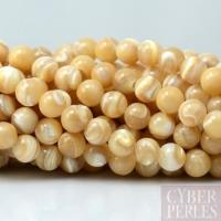 Perles rondes en nacre 6 mm - naturel