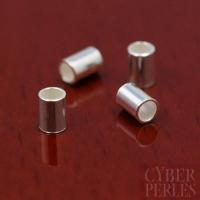 Perles tubes à écraser en argent 3 x 2 mm