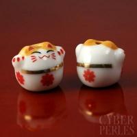 Perle chat bonheur en céramique - blanc
