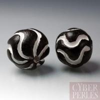 (Lot de 21) Perle ronde en terre cuite - noir