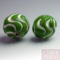 (Lot de 18) Perle ronde en terre cuite - vert