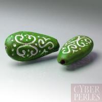 (Lot de 21) Perle en terre cuite forme goutte - vert