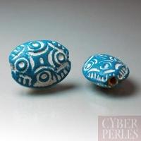 (Lot de 15) Perle en terre cuite forme galet - turquoise