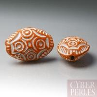 (Lot de 23) Perle en terre cuite forme galet - orange