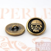 Bouton bronze antique - scary skull