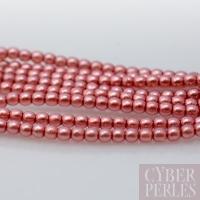 Perles tchèques nacrées rondes 2 mm - rose blush