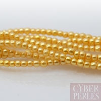 Perles tchèques nacrées 2 mm - jaune d'or
