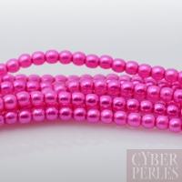Perles tchèques nacrées rondes 2 mm - rose néon