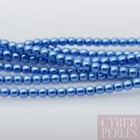 Perles tchèques nacrées 2 mm - bleu persan