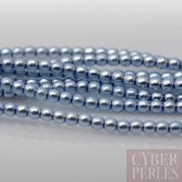 Perles tchèques nacrées 2 mm - bleu pastel