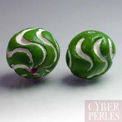 (Lot de 20) Perle ronde en terre cuite - vert