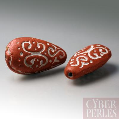 (Lot de 14) Perle en terre cuite forme goutte - cuivre