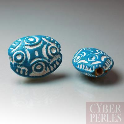(Lot de 20) Perle en terre cuite forme galet - turquoise