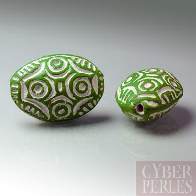 (Lot de 20) Perle en terre cuite forme galet - vert