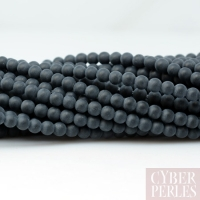 Perles rondes en onyx noir mat 2 mm