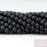 Perles facettées en onyx noir mat 4 mm