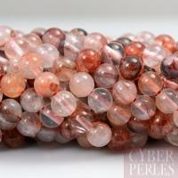 Perles rondes en quartz rouge - 6 mm