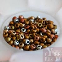 Perles tchèques en verre - mix métallisé