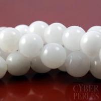 Perle ronde en jade blanc 12 mm