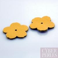 Fleur à riveter en cuir 25 mm - jaune