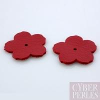 Fleur à riveter en cuir 25 mm - rouge